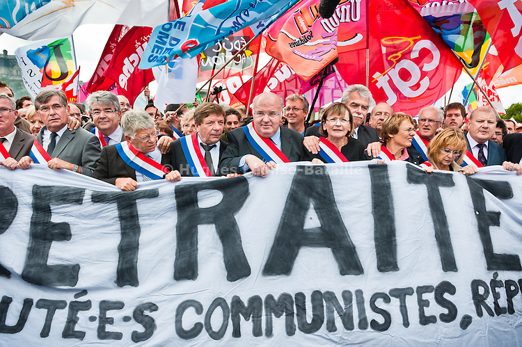 Communists deputies demonstrate in front of the National Assembly in Paris on September 15, against the reform of the pension law which was voted on the afternoon...____________________________________________.2010 in France was marked by one of the largest social crisis as millions took to the streets during 3 months to oppose Sarkozy Government's reform of the pension law. The country came close to a standstill in October with gasoline shortage but before Christmas, the law was passed.