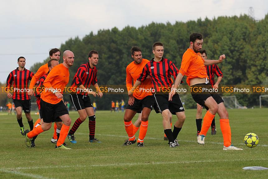 Dynamo Gobbler (orange) vs South London Sharks - Hackney & Leyton Sunday League Football at South Marsh, Hackney Marshes, London - 14/09/14 - MANDATORY CREDIT: Gavin Ellis/TGSPHOTO - Self billing applies where appropriate - 0845 094 6026 - contact@tgsphoto.co.uk - NO UNPAID USE