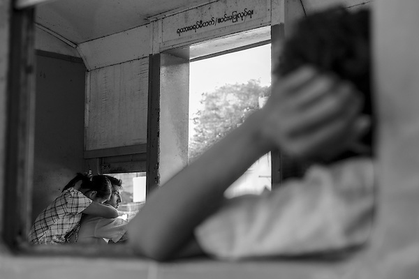 In the Yangon Circular Train.<br /> Yangon, Myanmar. 2013
