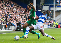 Preston North End's Daniel Johnson competing with Queens Park Rangers' Bright Osayi-Samuel<br /> <br /> Photographer Andrew Kearns/CameraSport<br /> <br /> The EFL Sky Bet Championship - Queens Park Rangers v Preston North End - Loftus Road - London<br /> <br /> World Copyright &copy; 2018 CameraSport. All rights reserved. 43 Linden Ave. Countesthorpe. Leicester. England. LE8 5PG - Tel: +44 (0) 116 277 4147 - admin@camerasport.com - www.camerasport.com