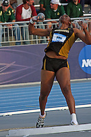 Missouri's Shernelle Nicholls tosses the shot in the Womens Shot Put Qualifiying Round. She ended up 13, missing the finals by 1.25 inches.