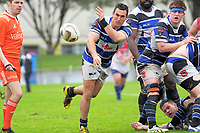 Lindsay Horrocks passes during the Mitre 10 Heartland Championship rugby union match between Horowhenua Kapiti and Wanganui at Levin Domain in Levin, New Zealand on Saturday, 7 October 2017. Photo: Dave Lintott / lintottphoto.co.nz