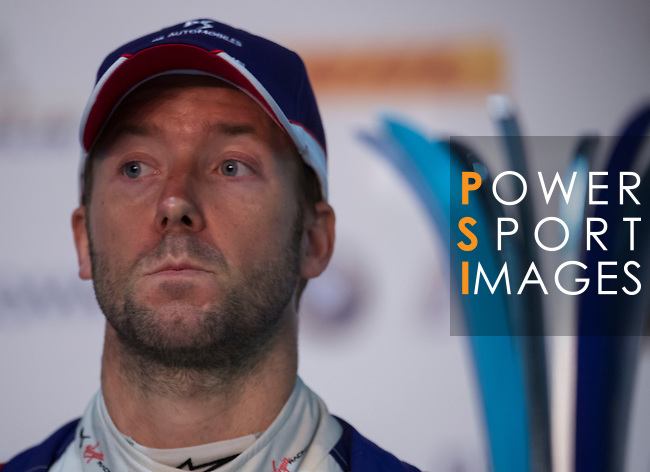 Sam Bird of Great Britain from DS Virgin Racing attends the press conference after winning the FIA Formula E Hong Kong 2017 E-Prix Round 1 at the Central Harbourfront Circuit on 02 December 2017 in Hong Kong, Hong Kong. Photo by Marcio Rodrigo Machado / Power Sport Images