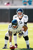 October 02, 2011:   Jacksonville Jaguars quarterback Blaine Gabbert (11) warms up with center Brad Meester (63) prior to the start of action between the Jacksonville Jaguars and the New Orleans Saints at EverBank Field in Jacksonville, Florida.  New Orleans defeated Jacksonville 23-10.........