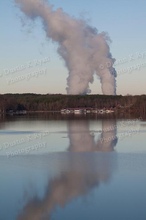 Catawba Nuclear power station steam rising above Lake Wylie South Carolina