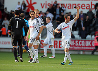 Pictured: (L-R) Michel Vorm, Angel Rangel, Garry Monk and Joe Allen of Swansea City. Saturday 17 September 2011<br /> Re: Premiership football Swansea City FC v West Bromwich Albion at the Liberty Stadium, south Wales.