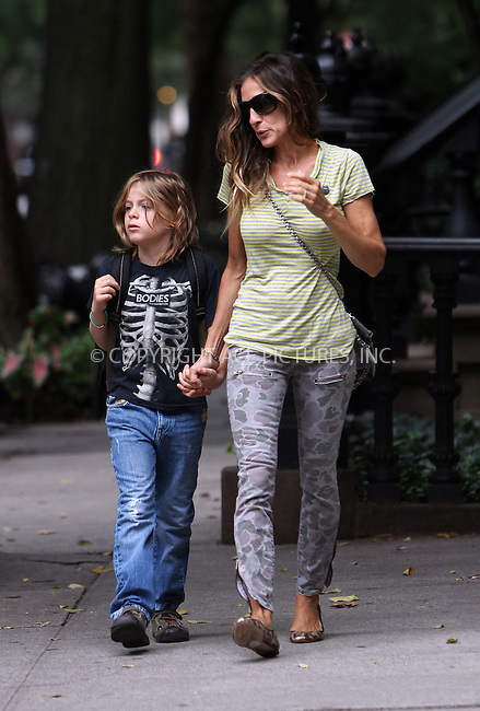 WWW.ACEPIXS.COM....September 6 2012, New York City....Actress Sarah Jessica Parker takes her son James Broderick to his first day back at school in the West Village on September 6 2012 in New York City......By Line: Zelig Shaul/ACE Pictures......ACE Pictures, Inc...tel: 646 769 0430..Email: info@acepixs.com..www.acepixs.com