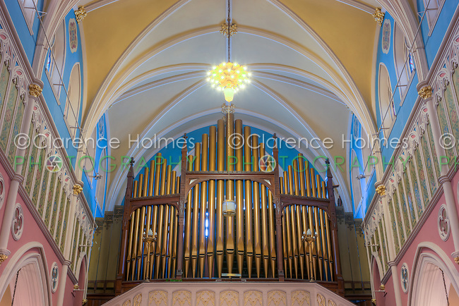 The organ pipes on the balcony in the rear of St. Bridget's Church, one of the churches in the Parish of the Resurrection, in Jersey City, New Jersey