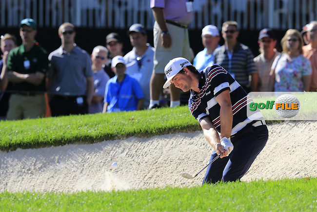 Keegan Bradley (USA) chips onto the 16th green during Saturday's Round 3 of the 2013 Bridgestone Invitational WGC tournament held at the Firestone Country Club, Akron, Ohio. 3rd August 2013.<br /> Picture: Eoin Clarke www.golffile.ie