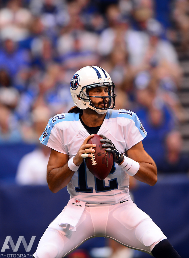 Sep 28, 2014; Indianapolis, IN, USA; Tennessee Titans quarterback Charlie Whitehurst (12) against the Indianapolis Colts at Lucas Oil Stadium. Mandatory Credit: Andrew Weber-USA TODAY Sports
