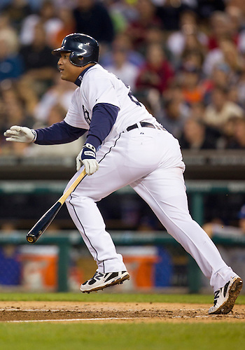 August 21, 2012:  Detroit Tigers third baseman Miguel Cabrera (24) at bat during MLB game action between the Toronto Blue Jays and the Detroit Tigers at Comerica Park in Detroit, Michigan.  The Tigers defeated the Blue Jays 5-3.