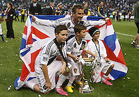CARSON, CA - DECEMBER 01, 2012:   David Beckham (23) of the Los Angeles Galaxy with his three sons after the 2012 MLS Cup at the Home Depot Center, in Carson, California on December 01, 2012. The Galaxy won 3-1.