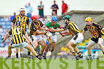 Adrian O'Mahony Crotta in action against Eoin Egan and Mike Hannafin Abbeydorney in the Senior county hurling Championship at Austin Stack park on Sunday.