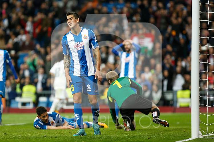 Espanyol´s Enzo Roco regrets scoring an own goal during 2015/16 La Liga match between Real Madrid and Espanyol at Santiago Bernabeu stadium in Madrid, Spain. January 31, 2016. (ALTERPHOTOS/Victor Blanco)