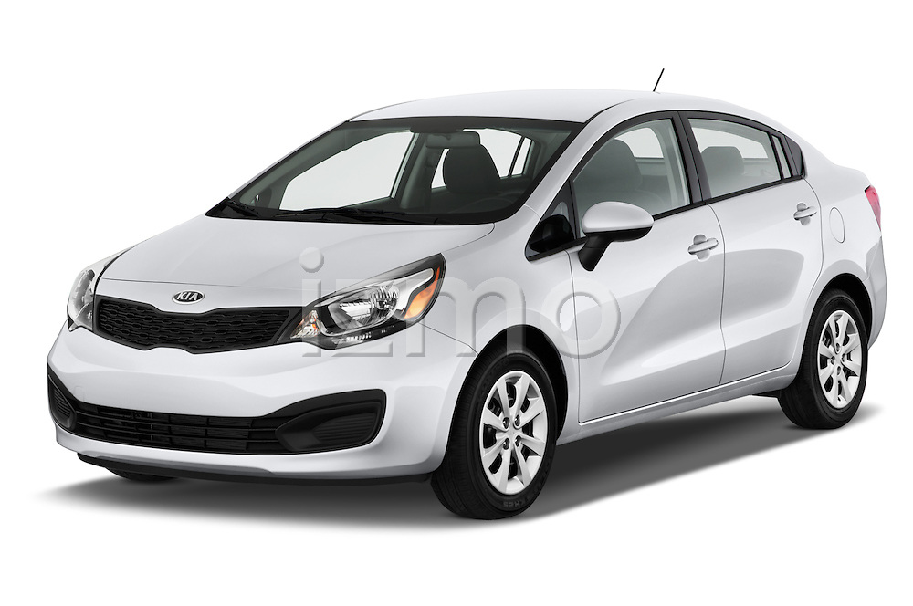 2015 KIA Rio LX AT 4 Door Sedan 2WD Angular Front stock photos of front three quarter view