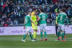 13.04.2019, Weser Stadion, Bremen, GER, 1.FBL, Werder Bremen vs SC Freiburg, <br /> <br /> DFL REGULATIONS PROHIBIT ANY USE OF PHOTOGRAPHS AS IMAGE SEQUENCES AND/OR QUASI-VIDEO.<br /> <br />  im Bild<br /> <br /> verletzungsbedingte Auswechslung <br /> Stefanos Kapino (Werder Bremen #27) für Jiri Pavlenka (Werder Bremen #01)<br /> Max Kruse (Werder Bremen #10) Milos Veljkovic (Werder Bremen #13)<br /> <br /> Foto © nordphoto / Kokenge