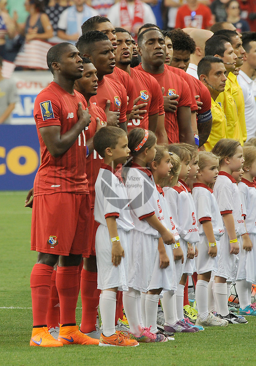 Panama national team players sing their national anthem. Panama tied the USA 1-1 in a Group A game during the Gold Cup 2015 at Sporting Park in Kansas City, Kansas on Monday July 13, 2015.