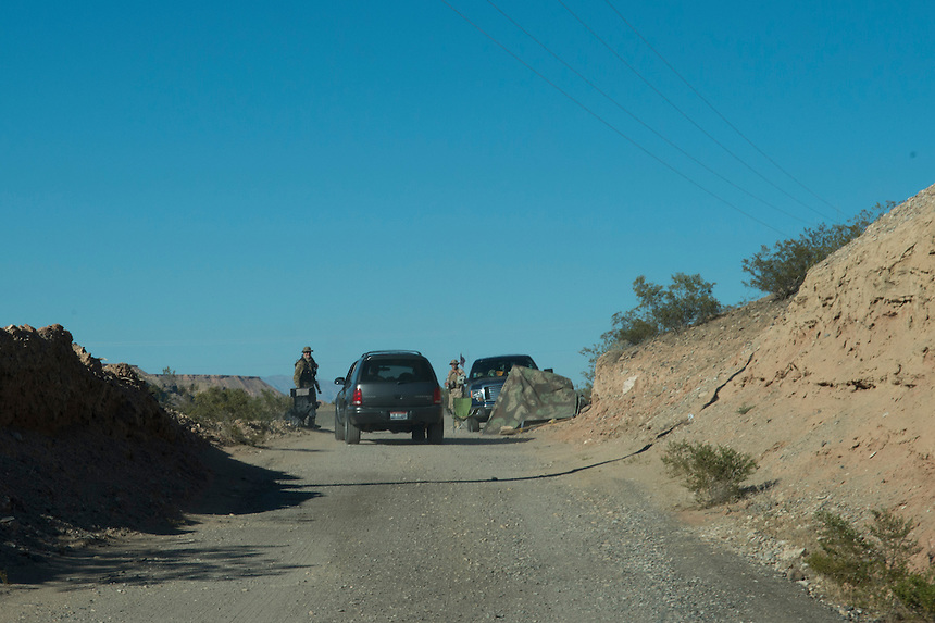 A checkpoint protects the entrance to militia camp &quot;Liberty&quot; near the Cliven Bundy ranch in Bunkerville, Nevada.<br />