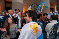 Argentinian Catholics celebrate at Buenos Aires Cathedral the election of Archbishop Jorge Bergoglio as the new Pope, Francis I.