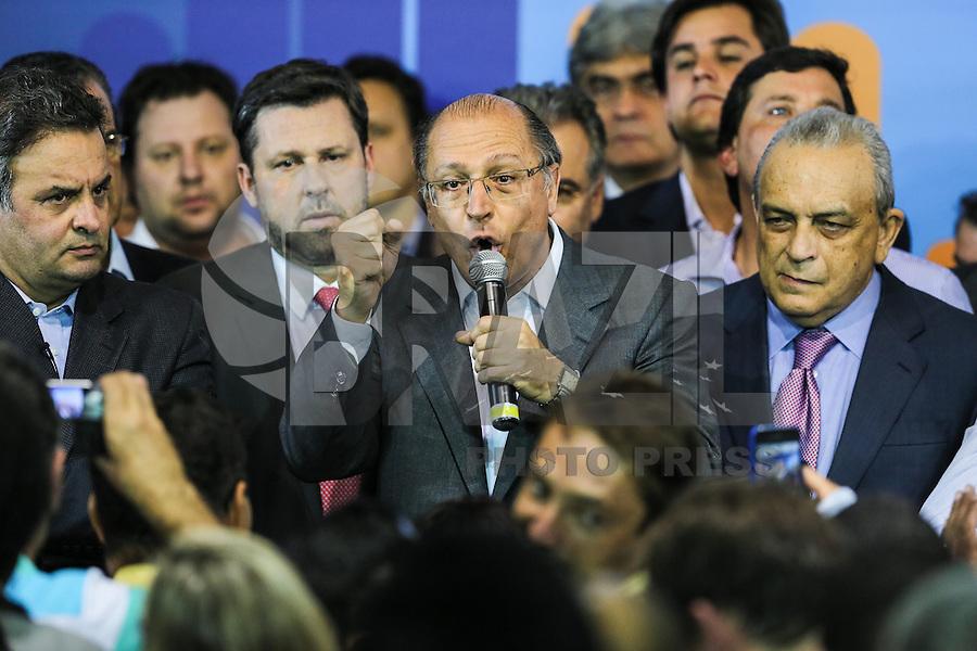SAO PAULO, SP, 25 DE MARCO 2013 - CONVENÇÃO ESTADUAL DO PSDB - Governardor de Sao Paulo Geraldo Alckmin durante Conveção estadual do PSDB-SP  na noite desta segunda-feira. 25 no sede do partido na regiao sul da cidade de Sao Paulo. FOTO: WILLIAM VOLCOV - BRAZIL PHOTO PRESS
