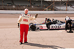 USA, Indiana, Indianapolis Motor Speedway, 180 mph ride in an Indy 500 car with Indy driver Danny Hamilton by journalist Lee Foster..
