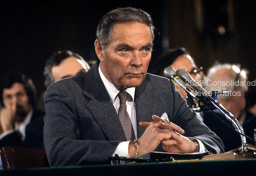 """General Alexander Haig (United States Army, ret.), U.S. President-elect Ronald Reagan's nominee to be U.S. Secretary of State testifies during confirmation hearings on his nomination before the United States Senate Foreign Relations Committee on January 9, 1981..Credit: Benjamin E. """"Gene"""" Forte / CNP"""