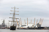 London, UK. 7 September 2014. Tall ship Thalassa at the Millennium Dome. Tall ships travelling between Woolwich and Maritime Greenwich on the River Thames. The Royal Greenwich Tall Ships Festival 2014 will culminate with a Parade of Sail on the River Thames from Greenwich with fifty tall ships taking part. Photo: Bettina Strenske