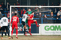O's Dean Brill clears during Dover Athletic vs Leyton Orient, Vanarama National League Football at the Crabble Athletic Ground on 3rd March 2018