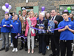 Rose of Tralee for 2015 Elysha Brennan cuts the ribbon to officially open Slane Foróige Youth Café with Lord Henry Mountcharles and Michael and Sheila Kinahan. Photo:Colin Bell/pressphotos.ie