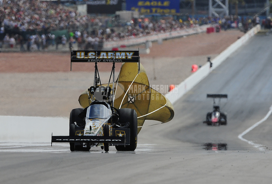 Apr. 2, 2011; Las Vegas, NV, USA: NHRA top fuel dragster driver Tony Schumacher during qualifying for the Summitracing.com Nationals at The Strip in Las Vegas. Mandatory Credit: Mark J. Rebilas-