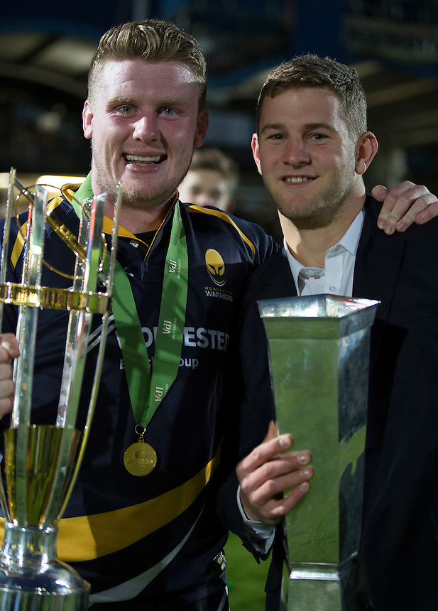 Worcester Warriors' Niall Annett and Charlie Mulchrone celebrate tonights win<br /> <br /> Photo by Rachel Holborn/CameraSport<br /> <br /> Rugby Union - Greene King Championship Final 2nd Leg - Worcester Warriors v Bristol - Wednesday 27th May 2015 - Sixways Stadium - Worcester<br /> <br /> &copy; CameraSport - 43 Linden Ave. Countesthorpe. Leicester. England. LE8 5PG - Tel: +44 (0) 116 277 4147 - admin@camerasport.com - www.camerasport.com