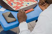 Spieler bei einem Scrabble-Turnier in Lagos, Nigeria am 14.7.2018. Nigeria ist die beste  Scrabble-Nation der Welt, 28 der Top-100 der Weltrangliste (Stand 14.7.2018) kommen aus Nigeria