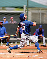 Jared Prince #80 of the Texas Rangers  plays in a minor league spring training game against the Kansas City Royals at the Rangers complex on March 22, 2011  in Surprise, Arizona. .Photo by:  Bill Mitchell/Four Seam Images.