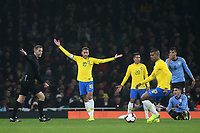 Neymar Jr of Brazil appeals for a free-kick during Brazil vs Uruguay, International Friendly Match Football at the Emirates Stadium on 16th November 2018