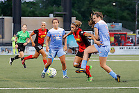 Rochester, NY - Friday July 01, 2016: Chicago Red Stars defender Katie Naughton (5), Chicago Red Stars midfielder Danielle Colaprico (24), Western New York Flash forward Lynn Williams (9) during a regular season National Women's Soccer League (NWSL) match between the Western New York Flash and the Chicago Red Stars at Rochester Rhinos Stadium.