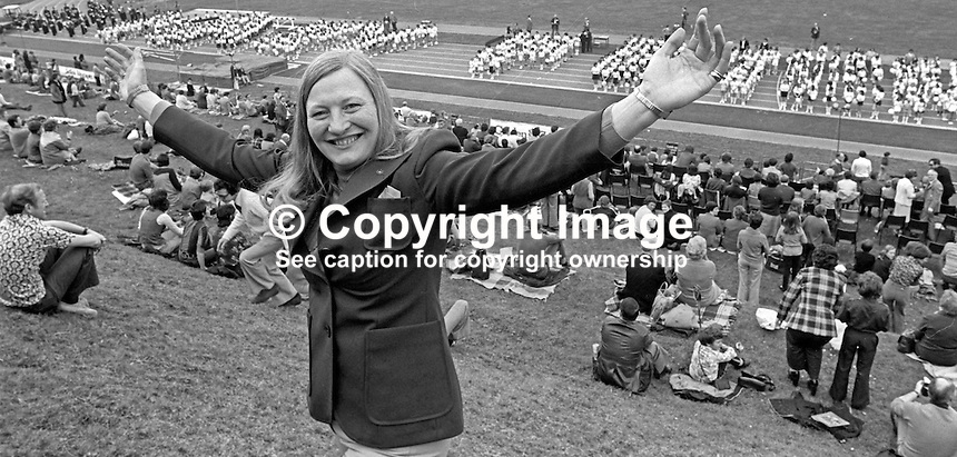 Mary's Big Day! Olympic Gold Medal pentathlete, Mary Peters, at the opening in Belfast, N Ireland, of the athletics track named after her. 19th April 1976. 197604190204.<br /> <br /> Copyright Image from Victor Patterson,<br /> 54 Dorchester Park, Belfast, UK, BT9 6RJ<br /> <br /> t1: +44 28 90661296<br /> t2: +44 28 90022446<br /> m: +44 7802 353836<br /> <br /> e1: victorpatterson@me.com<br /> e2: victorpatterson@gmail.com<br /> <br /> For my Terms and Conditions of Use go to<br /> www.victorpatterson.com