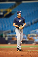 Alex Valverde (24) gets ready to deliver a pitch during the Tampa Bay Rays Instructional League Intrasquad World Series game on October 3, 2018 at the Tropicana Field in St. Petersburg, Florida.  (Mike Janes/Four Seam Images)