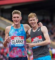 Tom BOSWORTH of GBR & Adam CLARKE embrace after the Walk (1000m) vs Run (1400m) race during the Muller Grand Prix Birmingham Athletics at Alexandra Stadium, Birmingham, England on 20 August 2017. Photo by Andy Rowland.