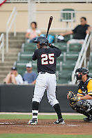 Louis Silverio (25) of the Kannapolis Intimidators at bat against the West Virginia Power at Intimidators Stadium on July 2, 2015 in Kannapolis, North Carolina.  The Power defeated the Intimidators 5-1.  (Brian Westerholt/Four Seam Images)