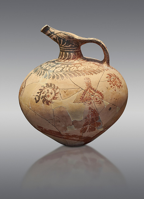 Mycenaean clay jug with ornate decoration of vegetal motifs, Tholos tomb 2 , Myrsinochori, Messenia, 15th cent BC. National Archaeological Museum Athens. Cat No 8375. Grey Background