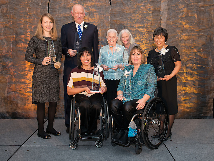 Ottawa, ON &ndash; Nov 27 2015 &ndash; Lauren Woolstencroft, Dr. Donald Royer, Chantal Petitclerc, Audrey Strom, Marni Abbott-Peter and Valerie McPherson (for Gary McPherson) at the Canadian Paralympic Hall of Fame<br /> (Photo: Matthew Murnaghan/Canadian Paralympic Committee)