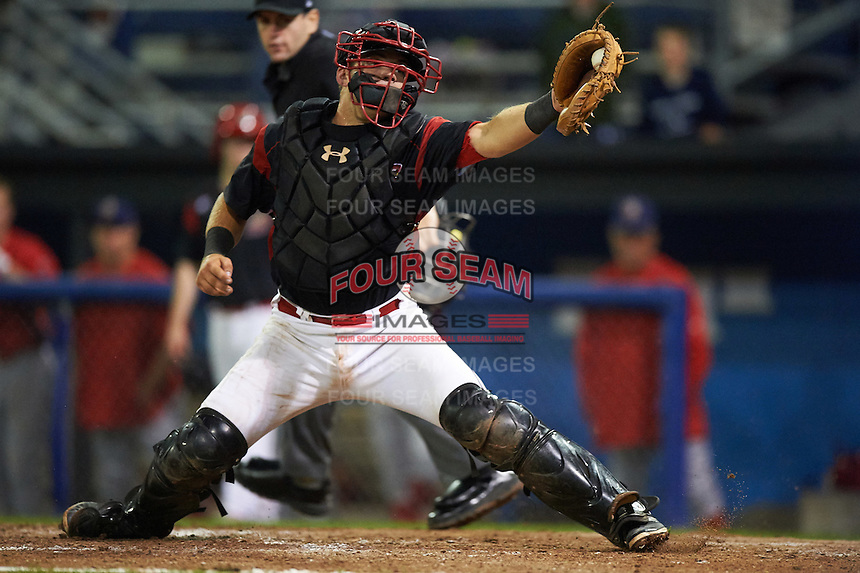 Batavia Muckdogs catcher Jarett Rindfleisch (44) stretches for a throw during a game against the Williamsport Crosscutters on September 2, 2016 at Dwyer Stadium in Batavia, New York.  Williamsport defeated Batavia 9-1. (Mike Janes/Four Seam Images)