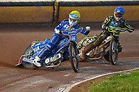 Erik Riss of King's Lynn Stars leads Josh Grajczonek of Poole Pirates in Heat1 during Poole Pirates vs King's Lynn Stars, SGB Premiership Shield Speedway at The Stadium on 11th April 2019