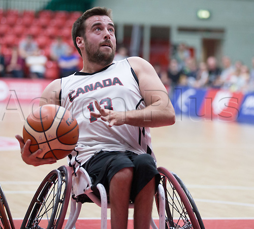 03.07.2016. Leicester Sports Arena, Leicester, England. Continental Clash Wheelchair Basketball, England versus Canada. Jonathan Vermette (CAN) prepares to shoot for the basket