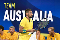 9th January 2020; Sydney Olympic Park Tennis Centre, Sydney, New South Wales, Australia; ATP Cup Australia, Sydney, Day 7; Great Britain versus Australia; Cameron Norrie of Great Britain versus Nick Kyrgios of Australia; Nick Kyrgios of Australia in front of the team Australia bench - Editorial Use