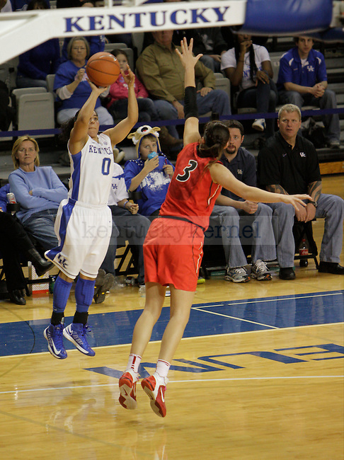 Sophomore PG Jennifer O'Neill (0)  takes a three pointer during the UK Hoops vs Georgia Women's Basketball game in Lexington, Ky., on Sunday, February 3, 2013. Photo by Matt Burns | Staff