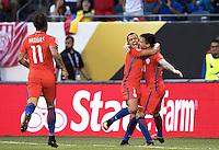 Action photo during the match Colombia vs Chile, corresponding to the semifinals of the America Cup Centenary 2016, at Soldier Field Stadium.<br /> <br /> Foto de accion durante el partido Colombia vs Chile correspondiente a la Semifinales de la Copa America Centenario 2016, en el Estadio Soldier Field, en la foto: (i-d) Alexis Sanchez celebra el gol de Charles Aranguiz de Chile<br /> <br /> <br /> 22/06/2016/MEXSPORT/David Leah.