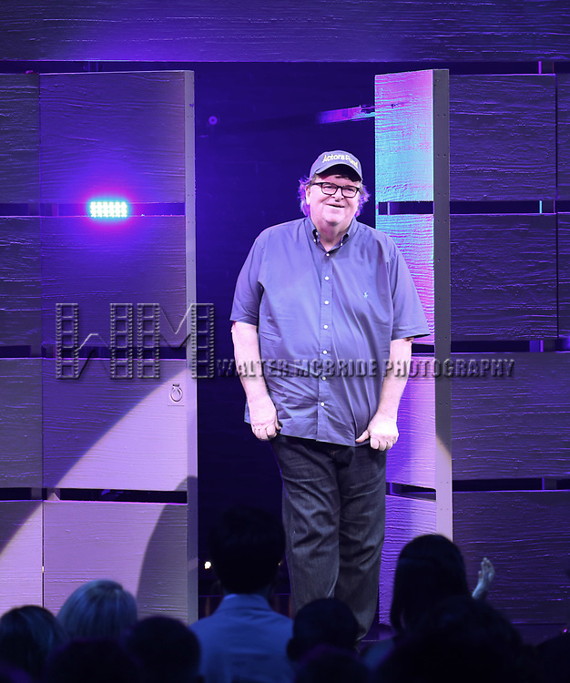 Michael Moore during the Curtain Call for the Broadway Opening Night of 'Michael Moore on Broadway - The Terms Of My Surrender' at the Belasco Theatre on August 10, 2017 in New York City.