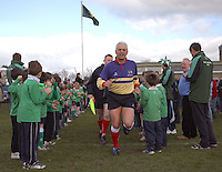 International referee Alan Lewis leads the officials on the pitch for the Ballynahinch Garryowen clash in the AIB Cup semi-final at Ballymacarn Park, Ballynahinch. Mandatory Credit - John Dickson