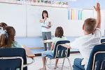 USA, Illinois, Metamora, Teacher and students (8-9) in classroom